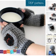 knight mittens crochet pattern