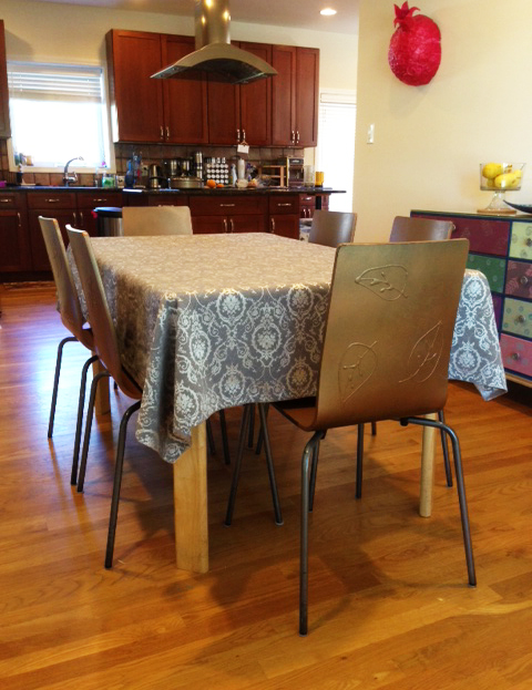 decorated IKEA kitchen chairs